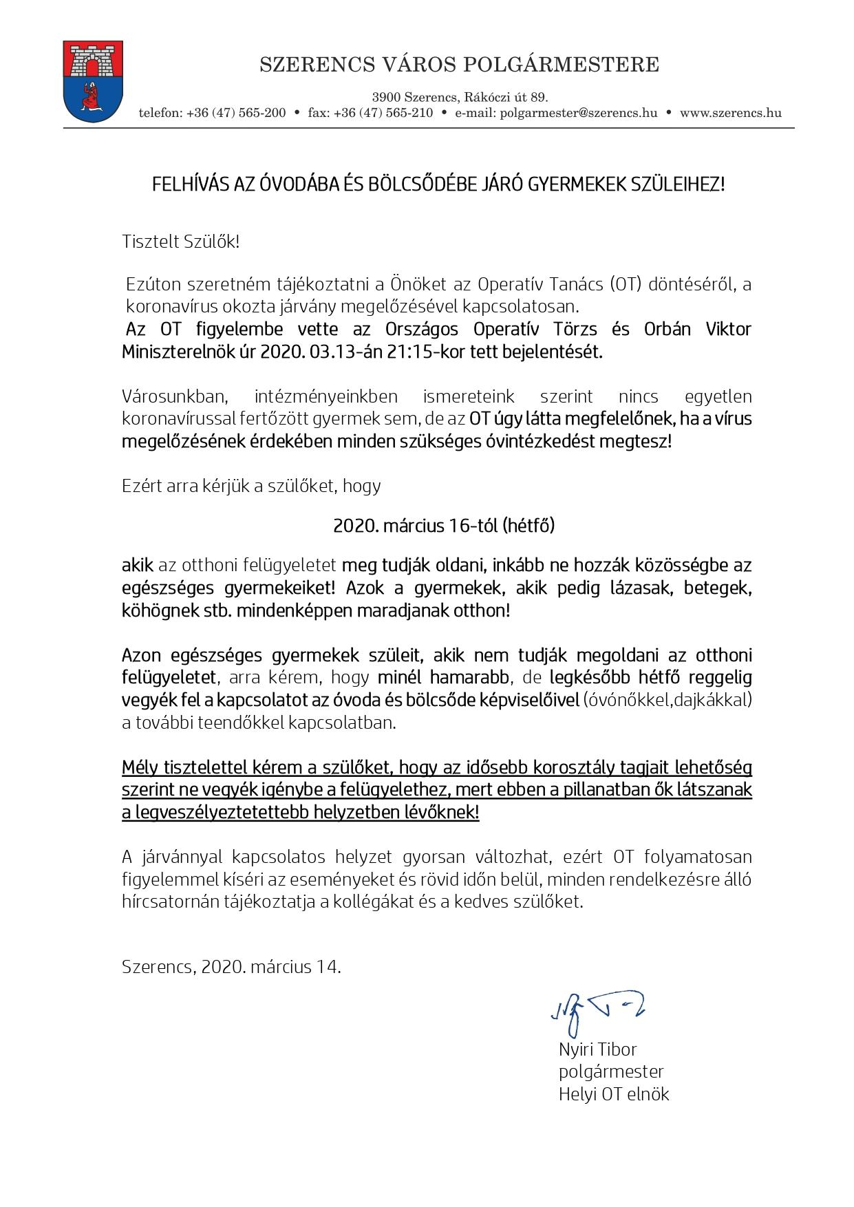 Operatív Tanács 2. felhívás